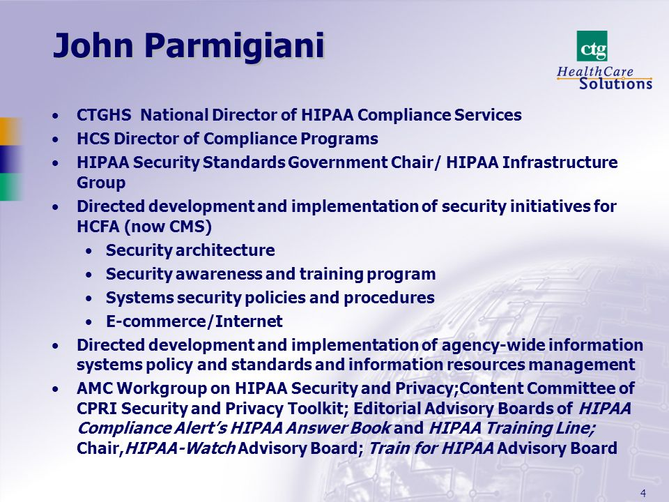 John Parmigiani CTGHS National Director of HIPAA Compliance Services