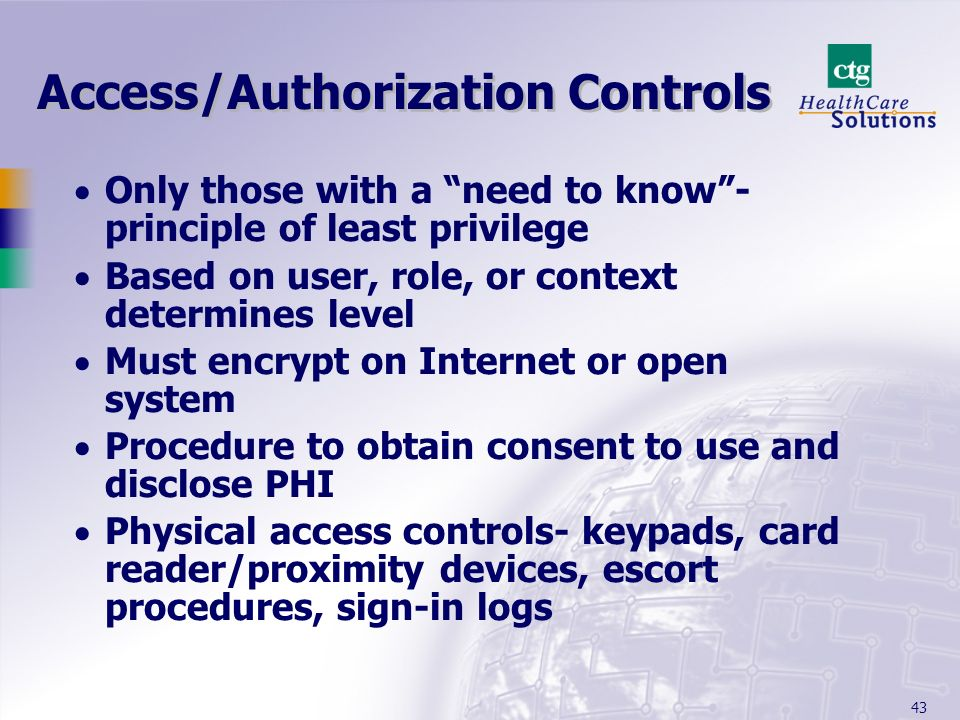 Access/Authorization Controls