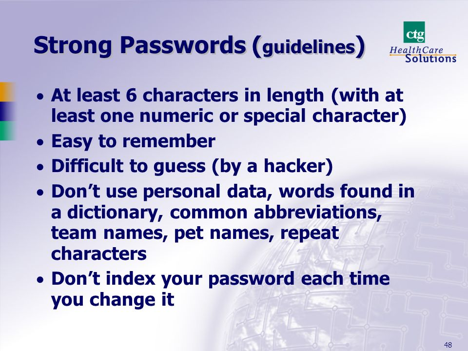 Strong Passwords (guidelines)