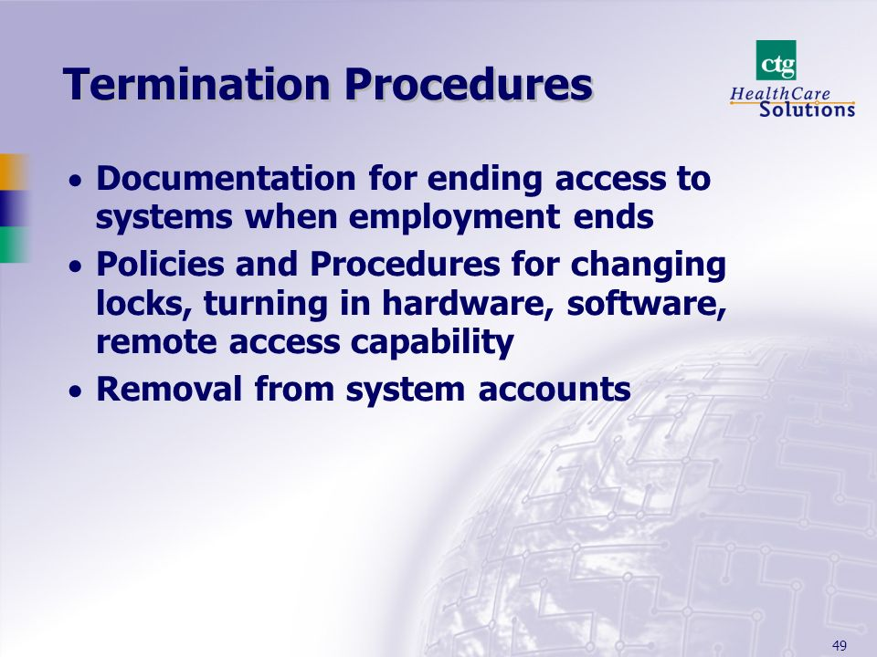 Termination Procedures