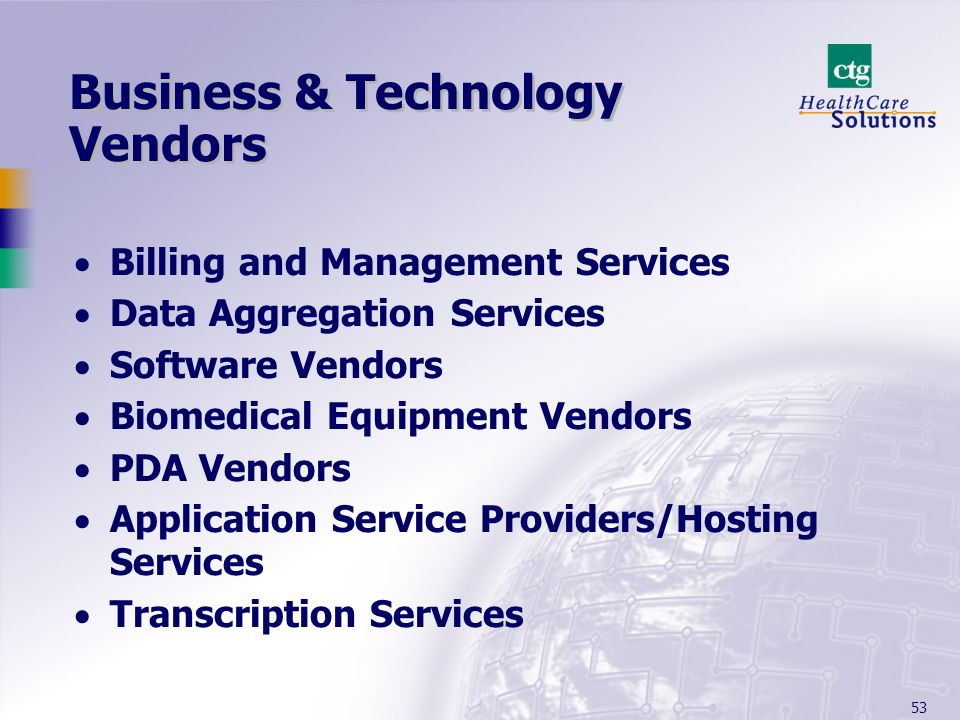 Business & Technology Vendors