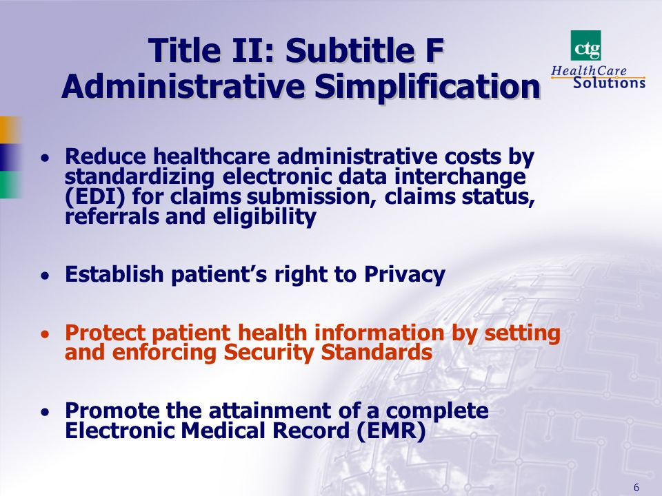 Title II: Subtitle F Administrative Simplification