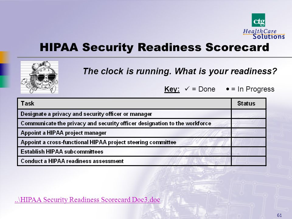 HIPAA Security Readiness Scorecard