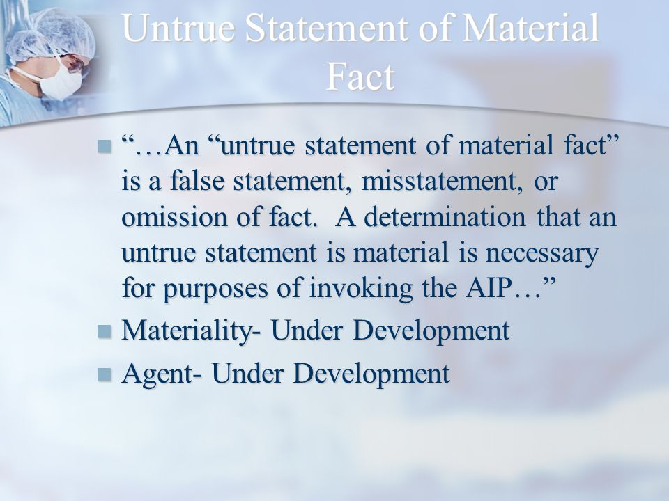 Untrue Statement of Material Fact