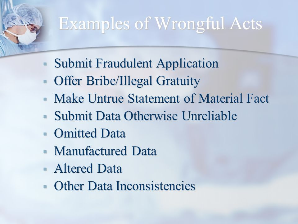 Examples of Wrongful Acts