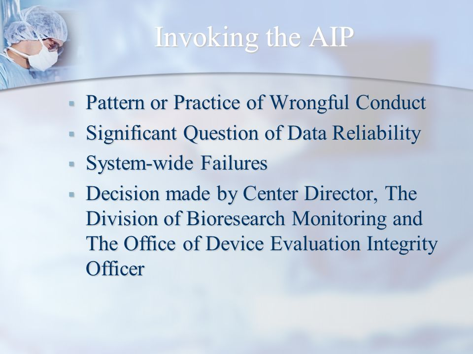 Invoking the AIP Pattern or Practice of Wrongful Conduct