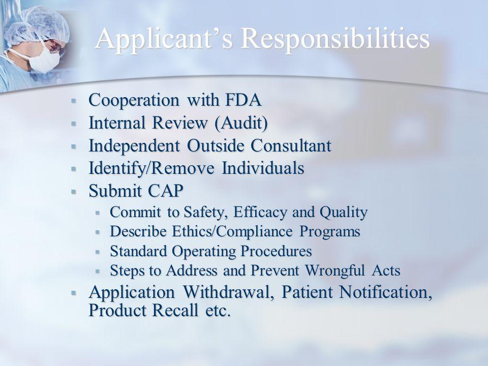 Applicant's Responsibilities