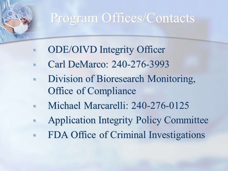 Program Offices/Contacts