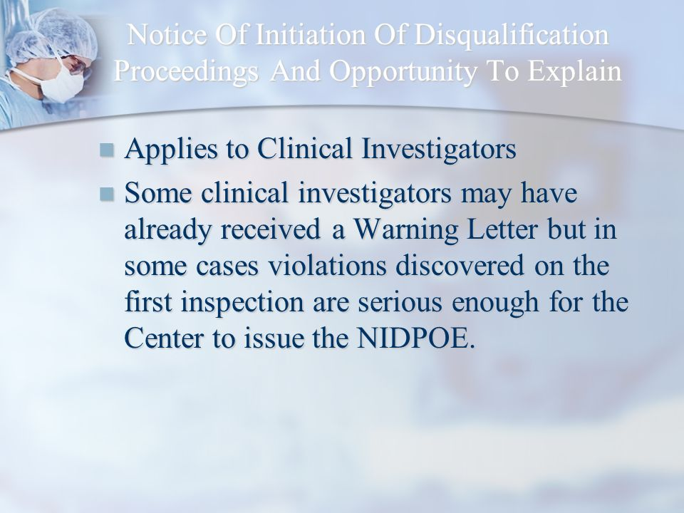 Notice Of Initiation Of Disqualification Proceedings And Opportunity To Explain