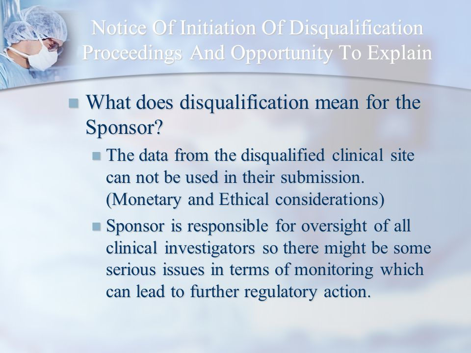 What does disqualification mean for the Sponsor