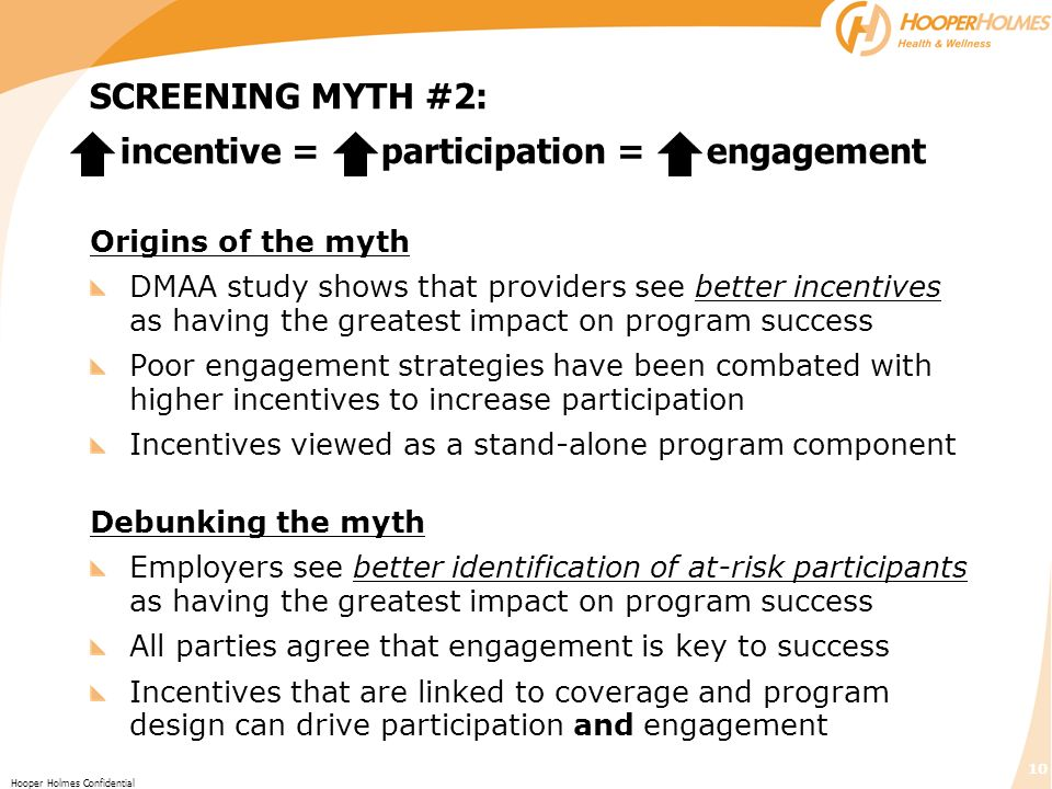 SCREENING MYTH #2: incentive = participation = engagement