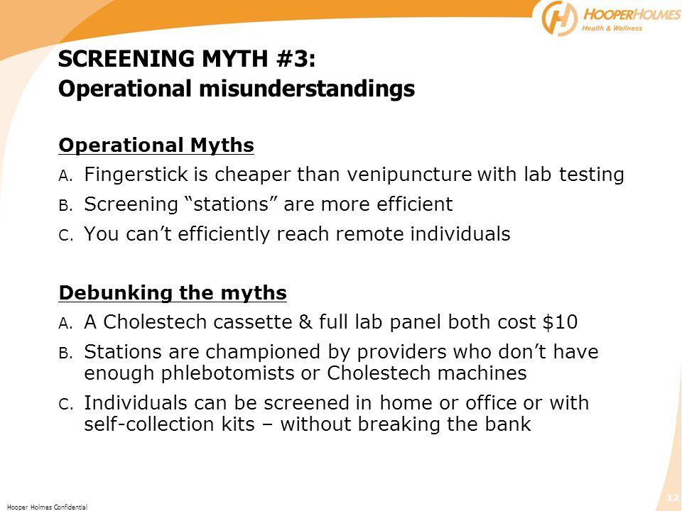 SCREENING MYTH #3: Operational misunderstandings