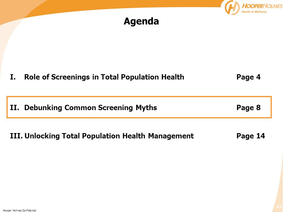 Agenda I. Role of Screenings in Total Population Health Page 4