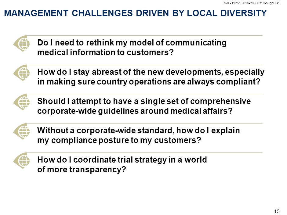 MANAGEMENT CHALLENGES DRIVEN BY LOCAL DIVERSITY