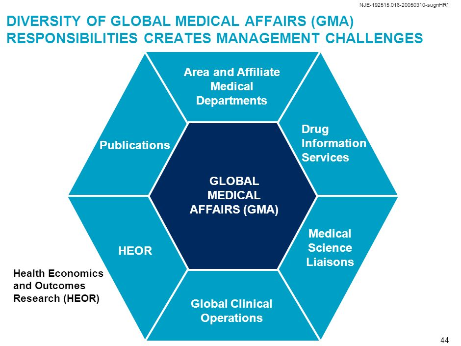NJE-192515.016-20050310-sugnHR1 DIVERSITY OF GLOBAL MEDICAL AFFAIRS (GMA) RESPONSIBILITIES CREATES MANAGEMENT CHALLENGES.