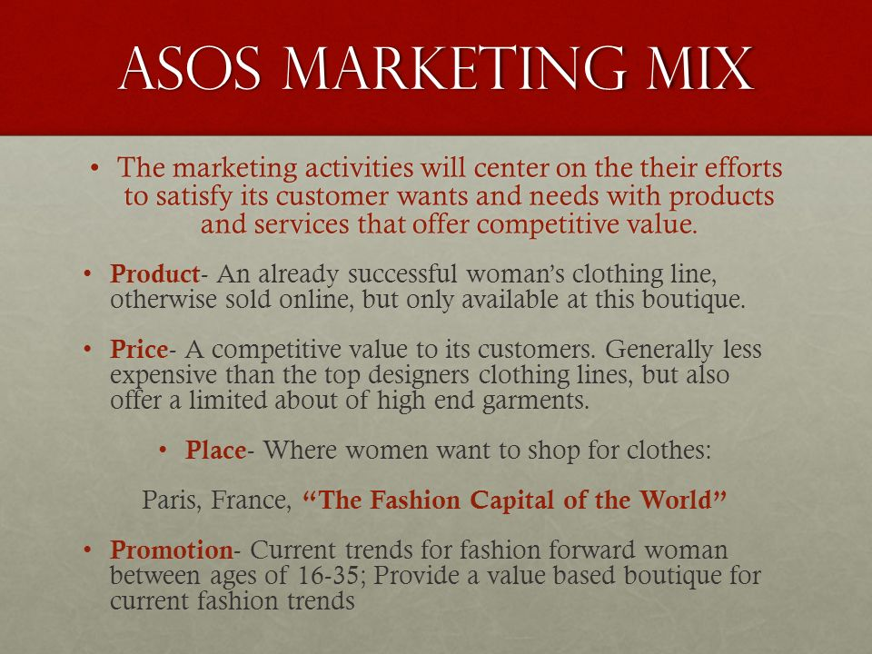 current and future marketing plan of asos For today's top retailers, social media marketing isn't about making waves   innovative retailers like asos, casper, and staples have taken note of social   all have one thing in common: a winning social media marketing strategy   staples stays current on social media by poking fun at much of the same.