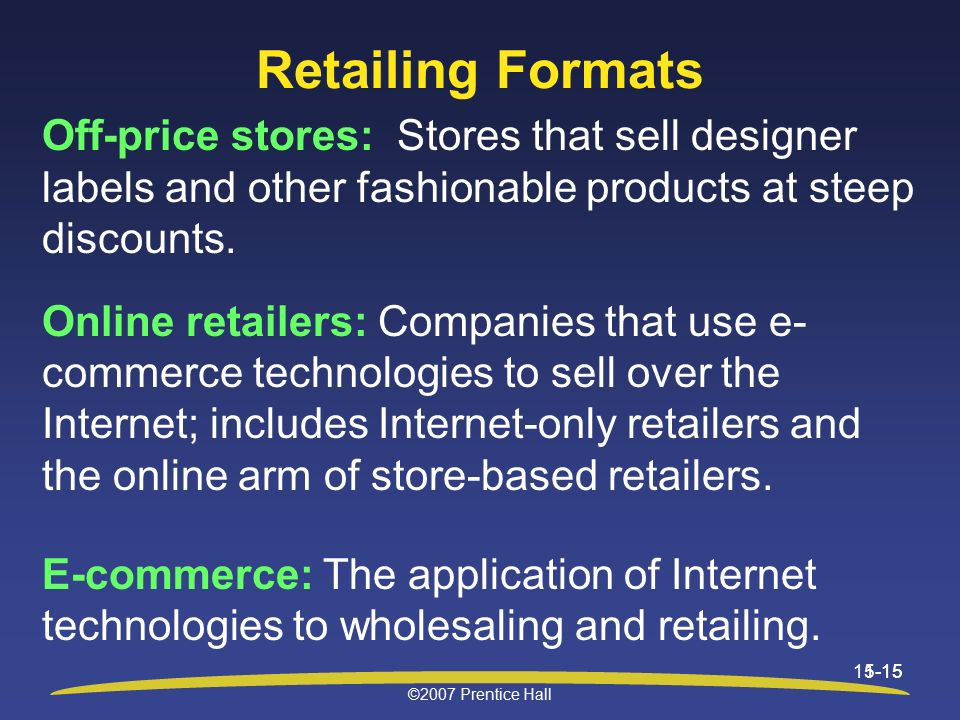retailing and stores off price retailers A store that sells items at lower prices than those typically charged by retail businesses off-price stores typically purchase overstocked goods or goods that are at.