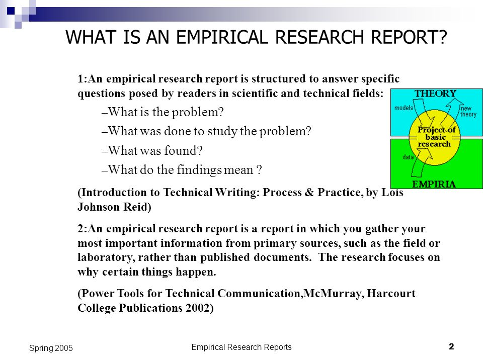 empirical research report Definition of an empirical study: an empirical research article reports the results of a study that uses data derived from actual observation or experimentation empirical research articles are examples of primary research parts of a standard empirical research article: (articles will not necessary use the exact terms listed below.