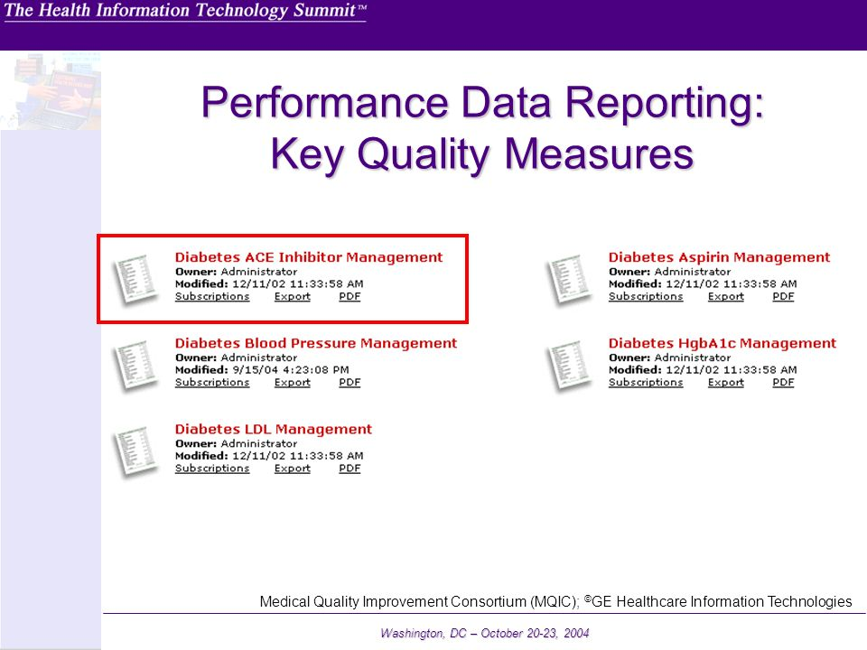 Performance Data Reporting: Key Quality Measures