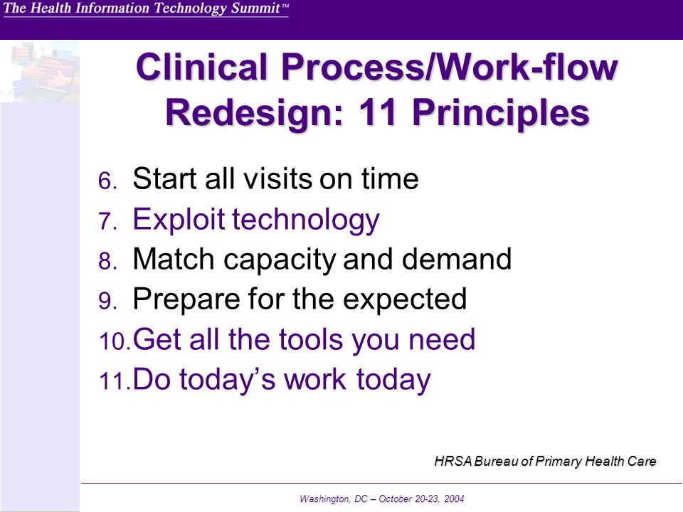 Clinical Process/Work-flow Redesign: 11 Principles