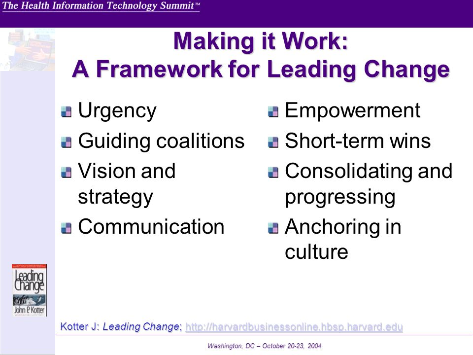 Making it Work: A Framework for Leading Change