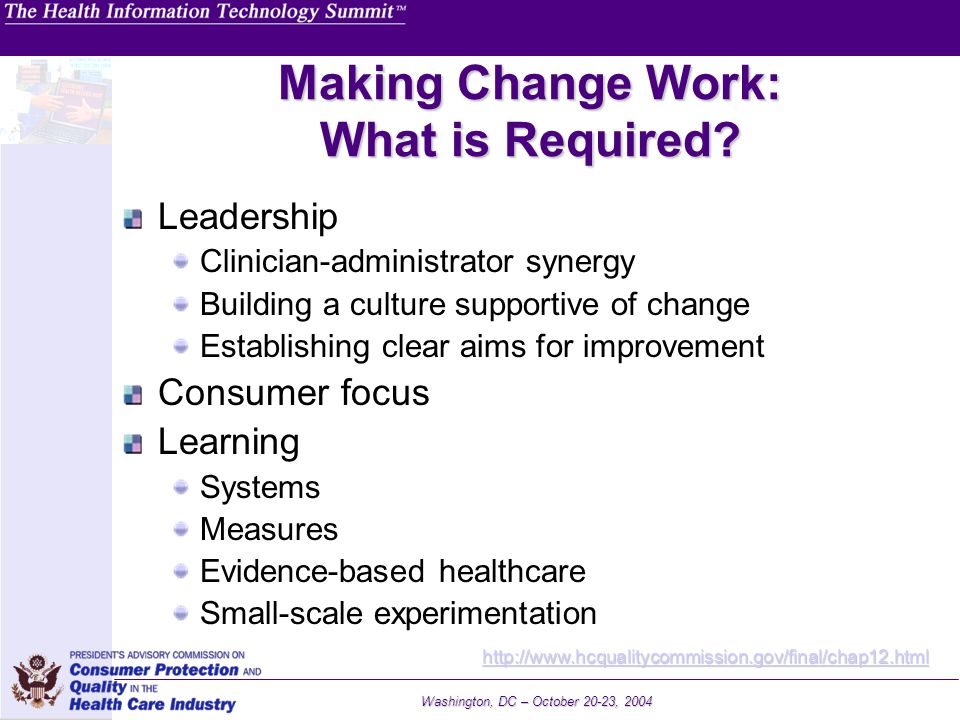 Making Change Work: What is Required
