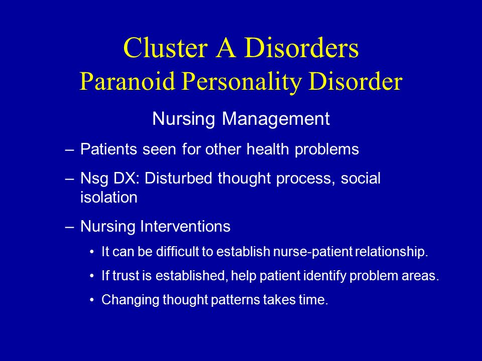 compare and contrast three clusters of personality disorders Cluster a personality disorders (pd), including schizotypal personality disorder (spd), paranoid personality disorder (ppd), and schizoid pd, are marked by odd and eccentric behaviors, and are grouped together because of common patterns in symptomatology as well as shared genetic and environmental risk factors.