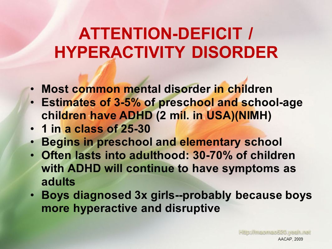 An analysis of the signs and symptoms of attention deficit hyperactivity disorder in children