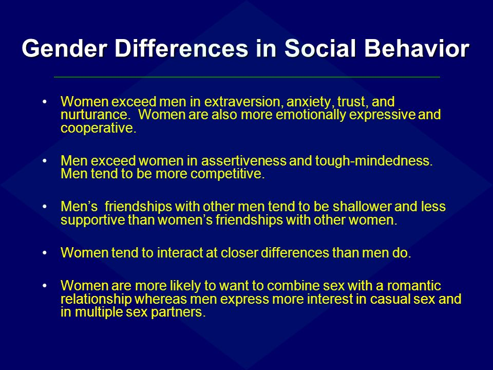 an introduction to the gender differences in social psychology Introduction to the psychology  let's develop a statistical snapshot of the social differences of  introduction to the psychology of diversity 3 gender.