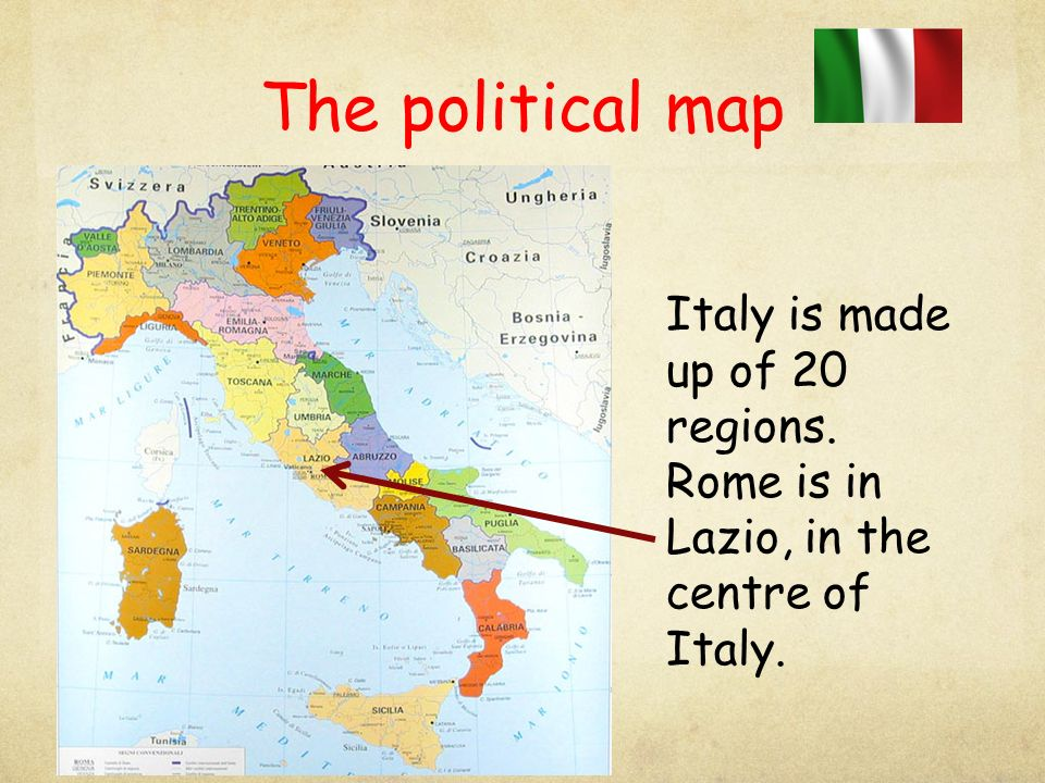 The political map Italy is made up of 20 regions.