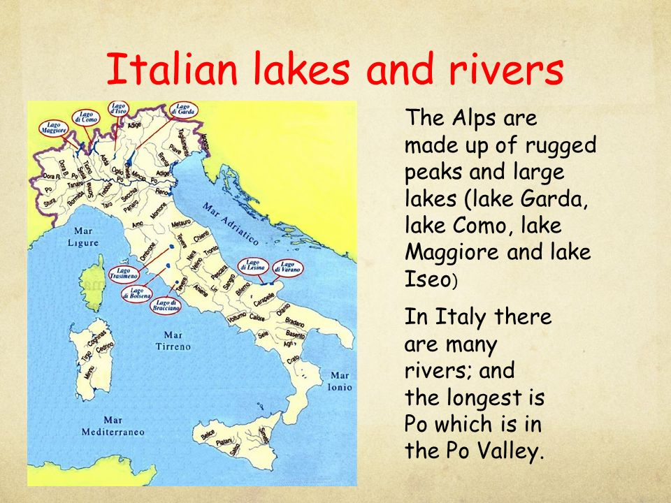 Italian lakes and rivers