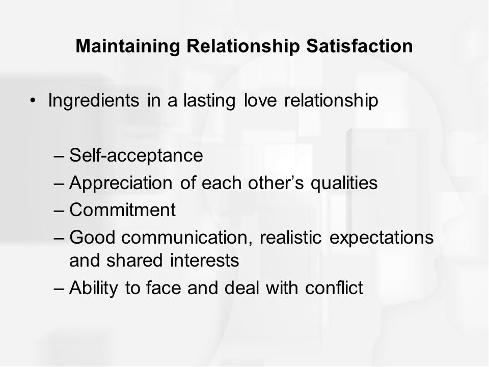 Maintaining satisfaction memo
