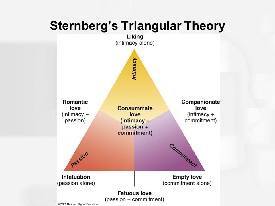 sternberg triangular theory of love Sternberg's triangular theory of love focuses on the amount of emotion, passion, fascination, trust, and commitment we have with our partners the amount of love within the triangle depends on the strength of the components relative to one another.