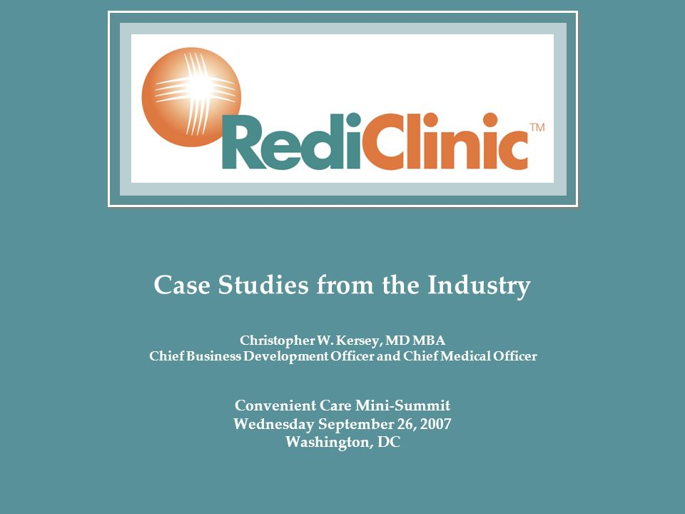 Case Studies from the Industry Christopher W