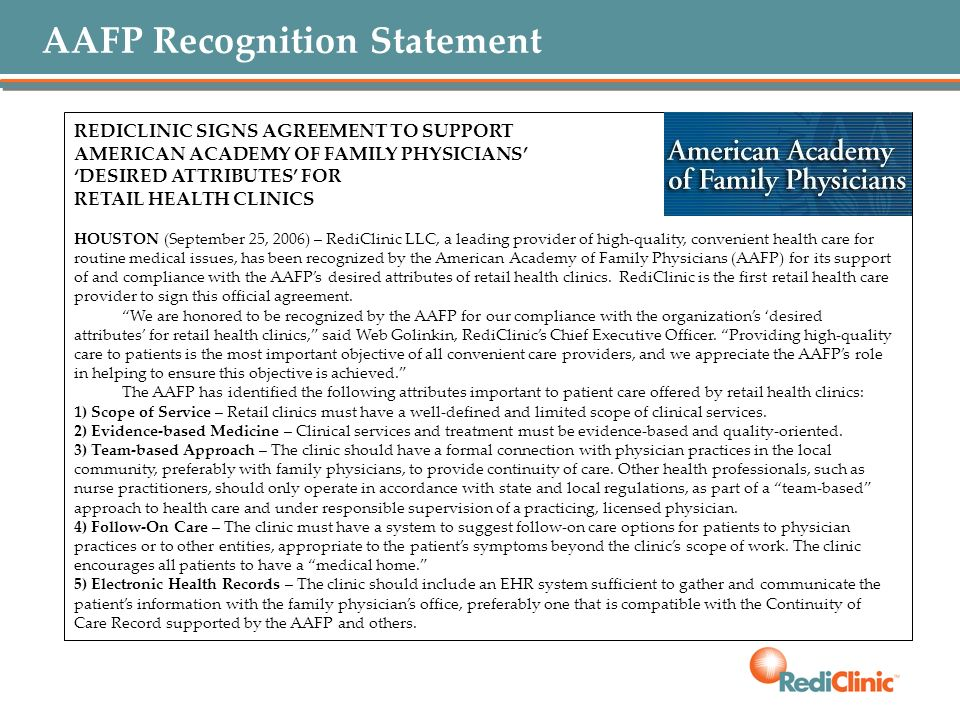 AAFP Recognition Statement
