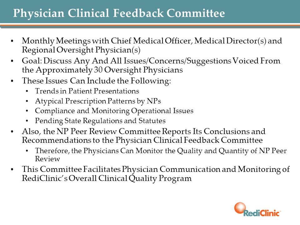 Physician Clinical Feedback Committee