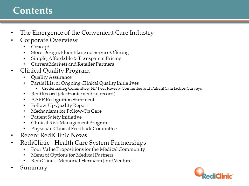 Contents The Emergence of the Convenient Care Industry