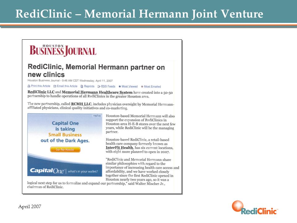 RediClinic – Memorial Hermann Joint Venture