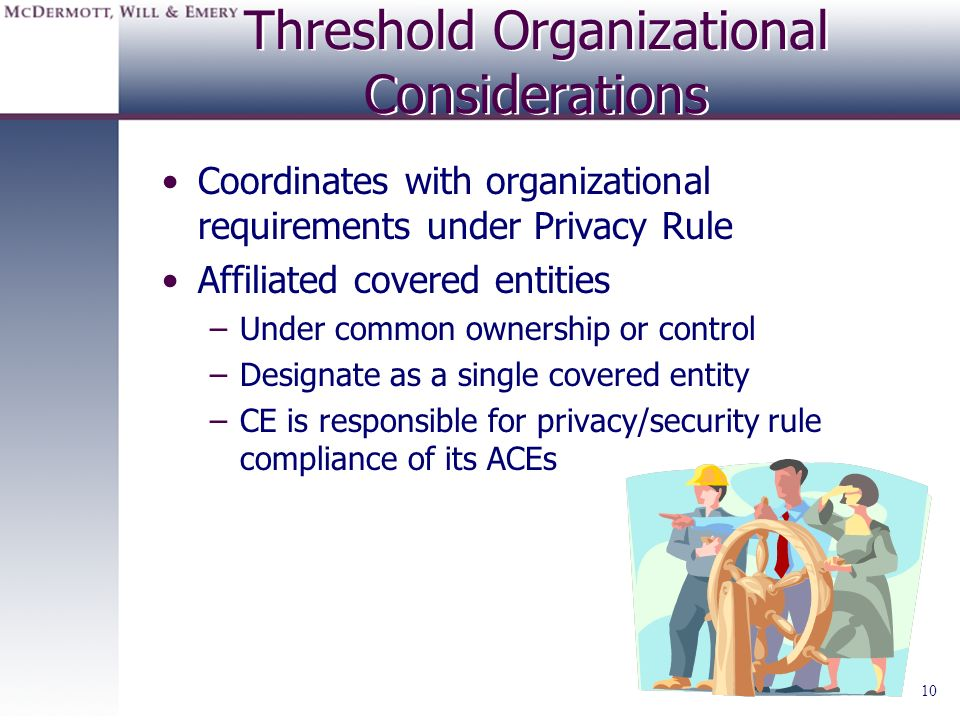 Threshold Organizational Considerations