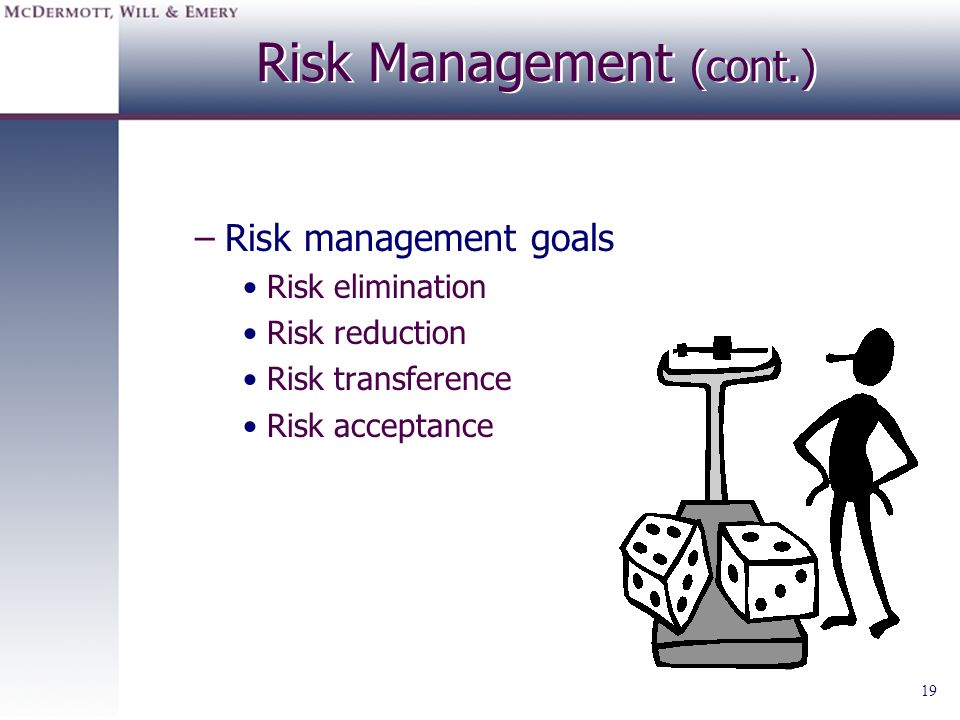 Risk Management (cont.)
