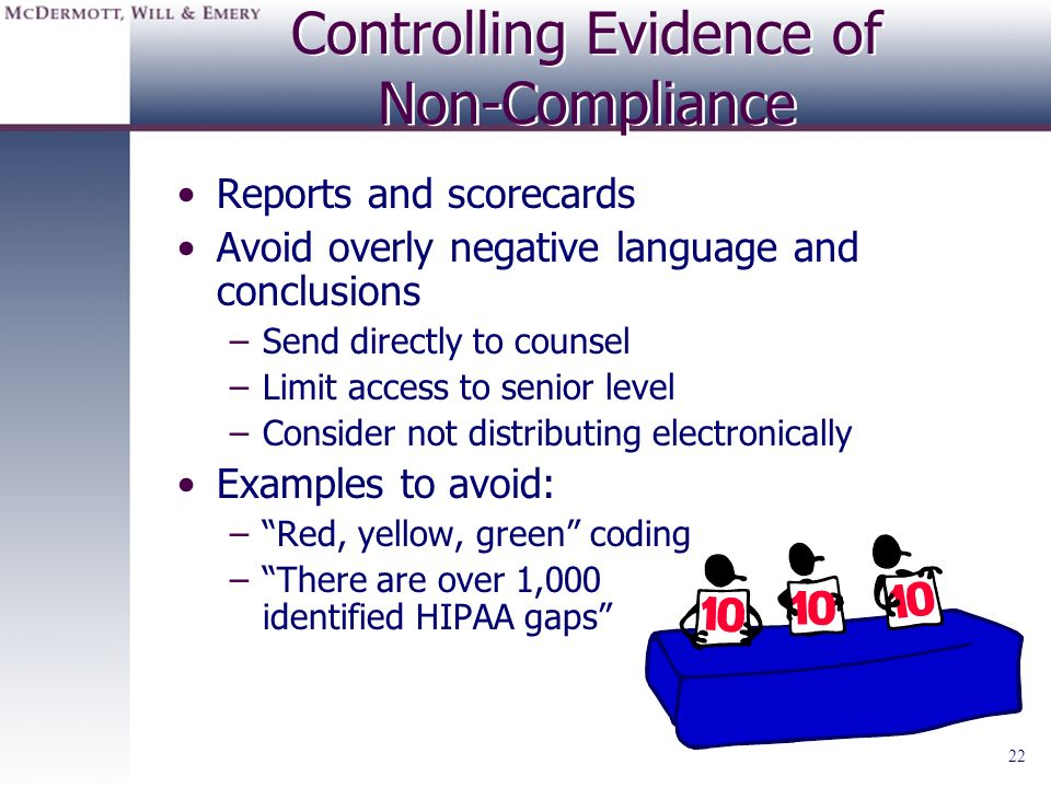 Controlling Evidence of Non-Compliance