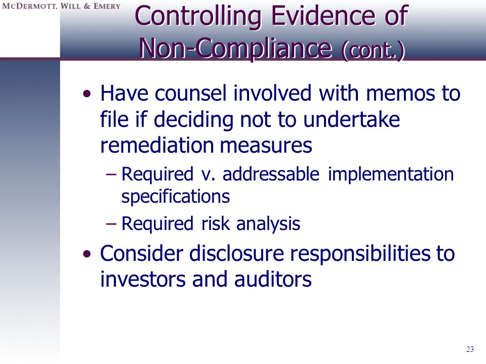 Controlling Evidence of Non-Compliance (cont.)