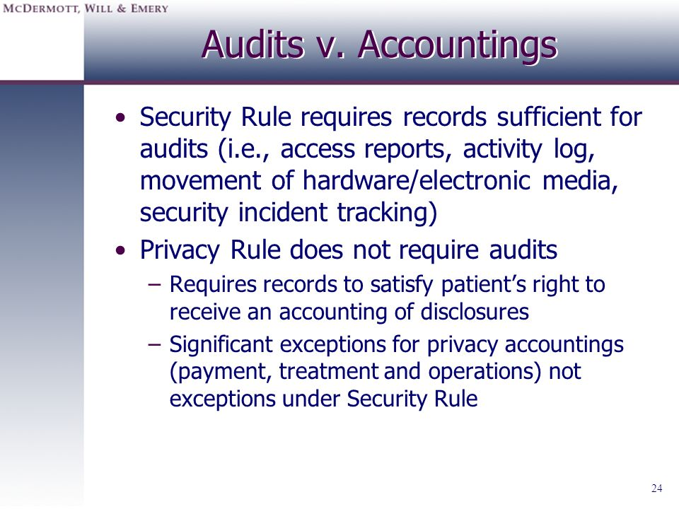 Audits v. Accountings