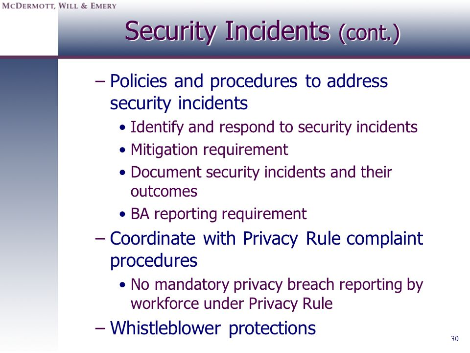 Security Incidents (cont.)