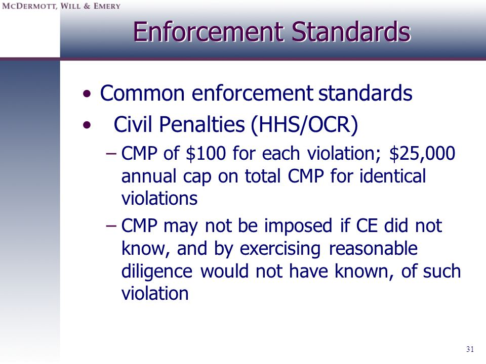Enforcement Standards