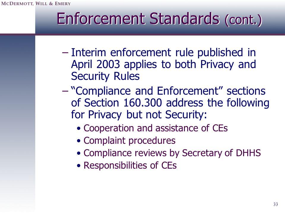 Enforcement Standards (cont.)