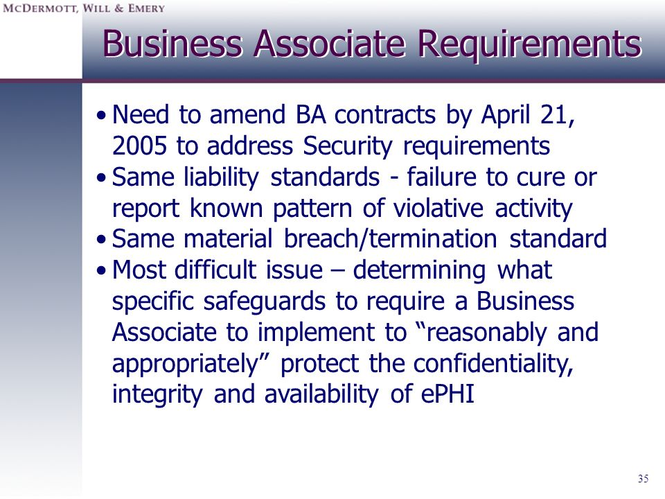 Business Associate Requirements