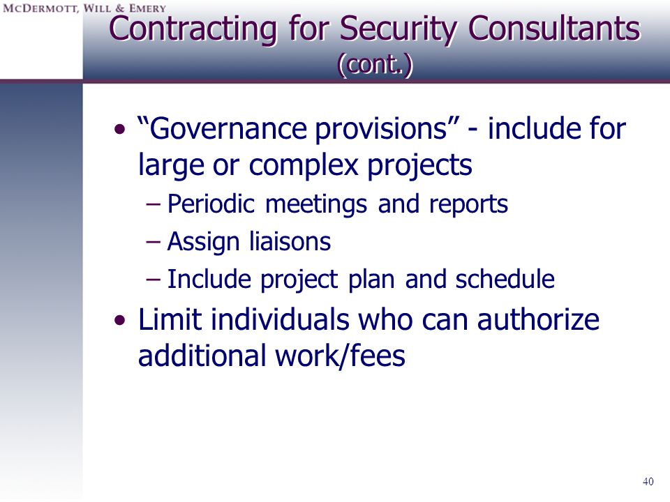 Contracting for Security Consultants (cont.)