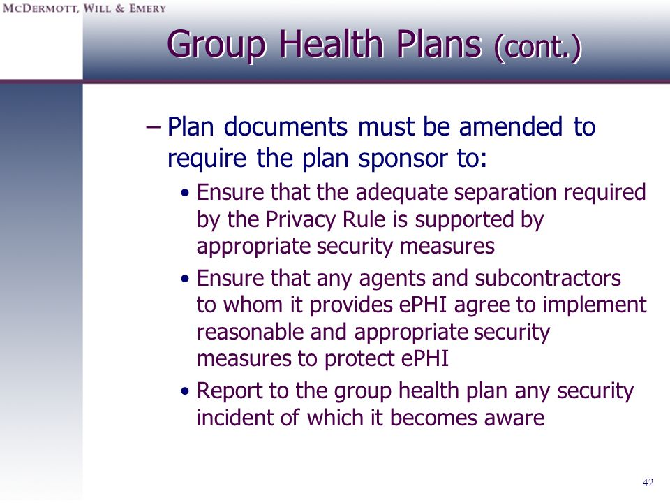 Group Health Plans (cont.)