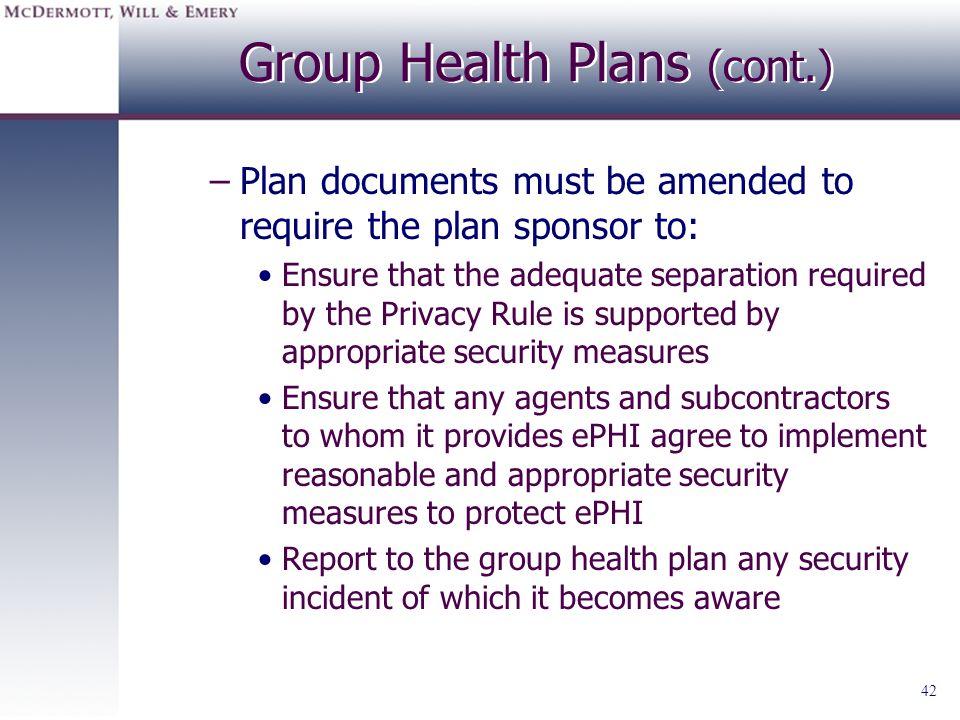 Group Health Plans (cont.)